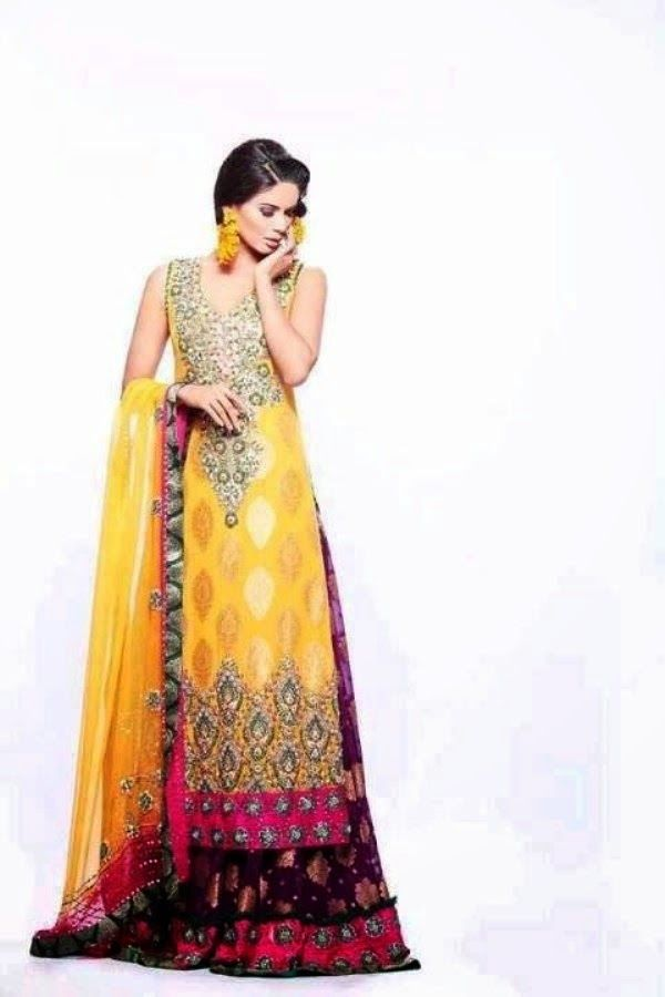 Pakistani Mehndi Dresses 2014   Pakistani Mehndi Designs 2014 for Girls