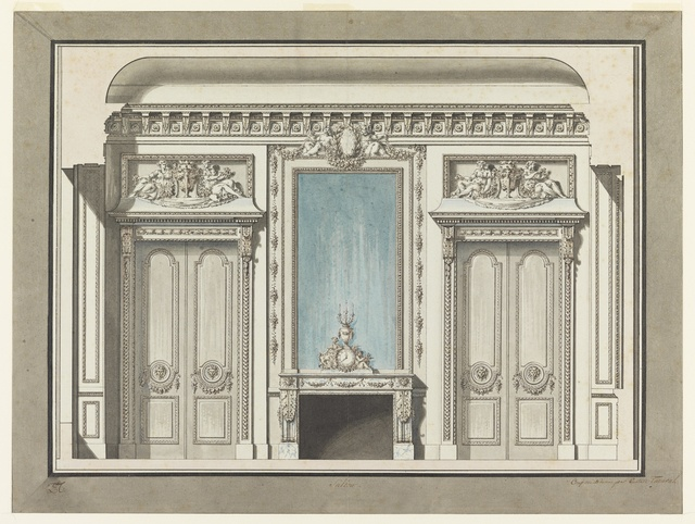 Tombstone drawing wall elevation for a salon with for Boiserie dwg