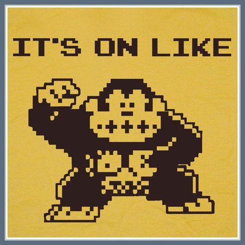 It's On Like Donkey Kong T SHIRT Gamer Geek Video Game Atari Funny Vintage Tee