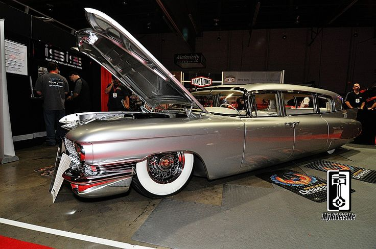 Cadillac hearse turned limo trick custom car at SEMA