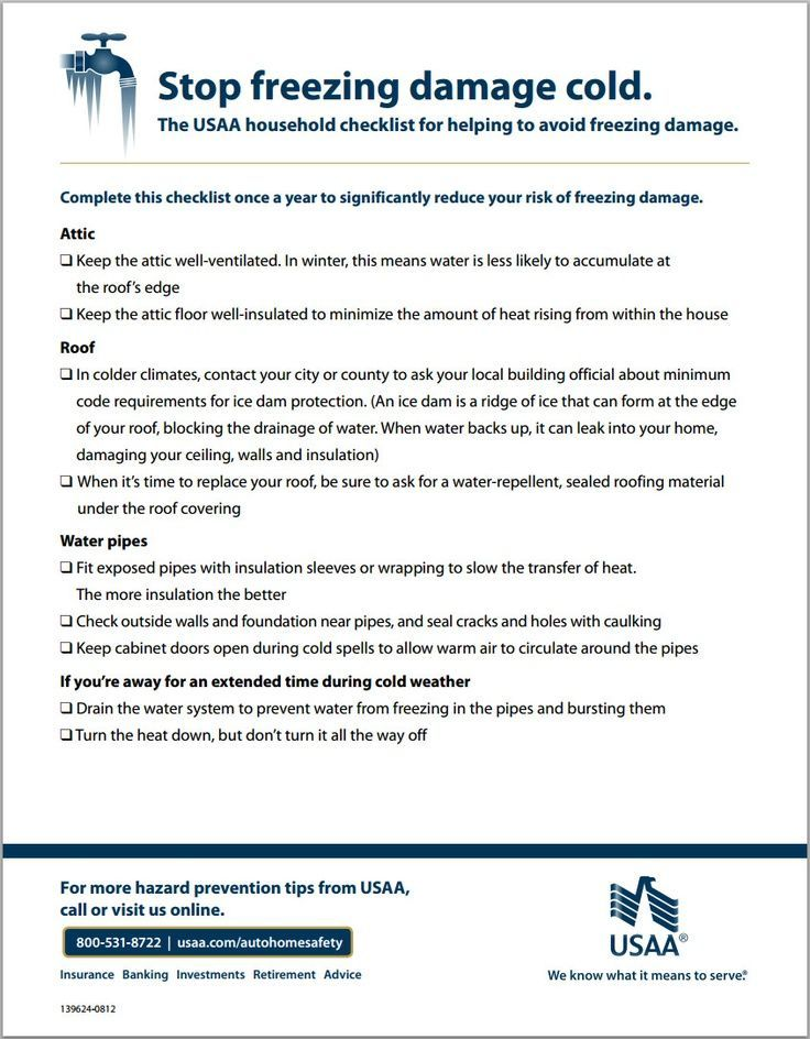 The Usaa Household Checklist For Helping To Avoid Freezing