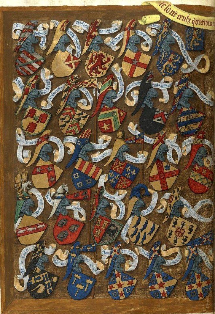 Tournoi «fait en la ville de Bruges par tres hault et puissant seigneur, monseigneur de La Gruthuse», le 11 juin 1392; avec les armoiries des combattants (f°Dv) -- «Traittié de la forme et devis comme on fait les tournoyz», par René d'Anjou, 1401-1500 [BNF Ms Fr 2693- ark:/12148/btv1b8449033b] -- See more at: http://www.omifacsimiles.com/brochures/cima32.pdf
