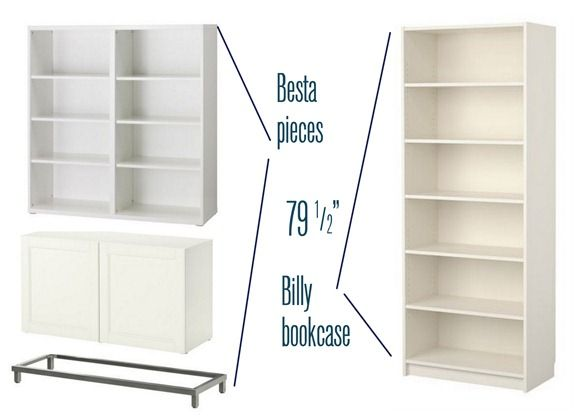 besta and billy combined for a #builtinbookcase on a poor man's budget.