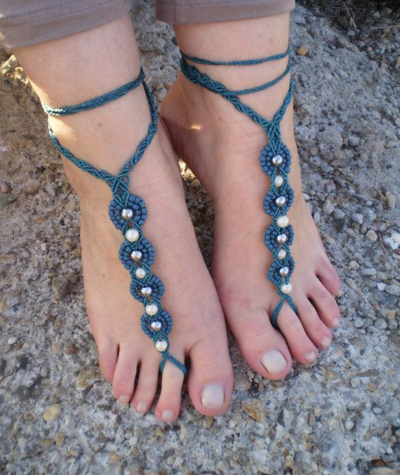 Macrame Barefoot Sandals Barefoot sandals Foot by MGhandmadeStore