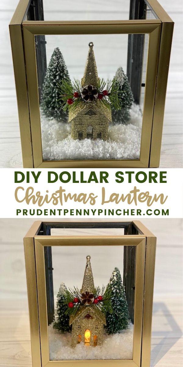 Diy Dollar Store Christmas Lantern Make This Dollar Store Christmas Lantern With Dollar Store Christmas Crafts Christmas Lanterns Dollar Tree Christmas Decor