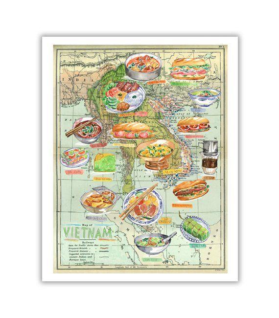Vietnam Poster, Vietnam Food Map Print, Vietnam Print