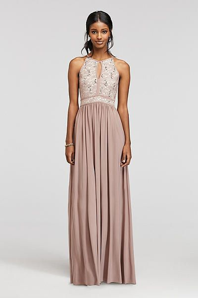 Taupe prom formal bridesmaids dress from david 39 s for Taupe lace wedding dress