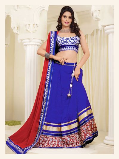 Blue Jacquard Wedding Lehenga Choli  33991