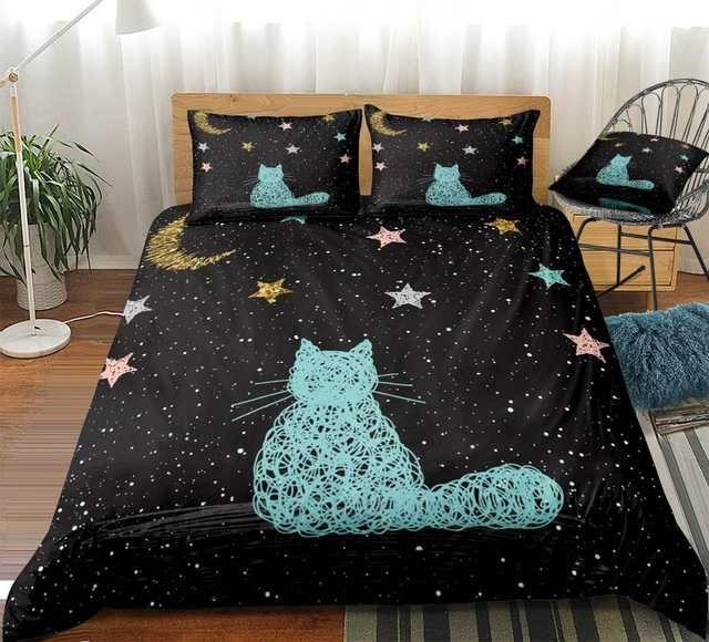 Online Shop Galaxy Cat Duvet Cover Set Queen Cartoon Bedclothes Animal Bed Set Pet Bed Linens 3pcs Stars Bedding F Duvet Cover Sets Star Bedding Comforter Sets