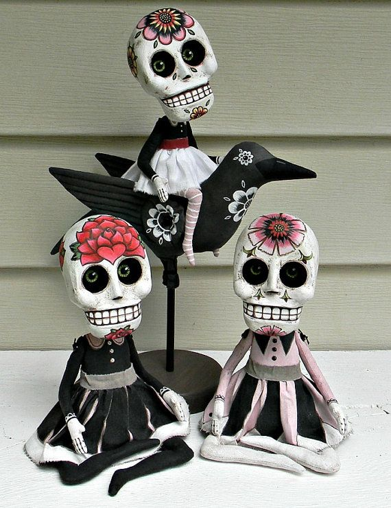 Day of the Dead Sugar Skull Doll Sculpture by cartbeforethehorse