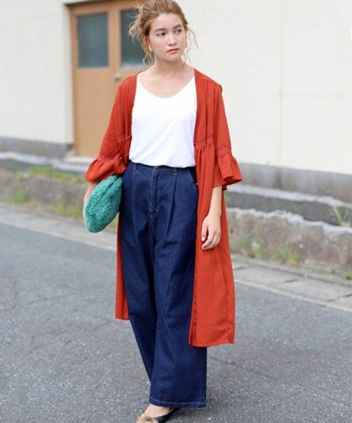 ほんのり透け感袖フレアポイントレースワッシャーロングガウン(カーディガン)|select MOCA(セレクトモカ)のファッション通販 - ZOZOTOWN