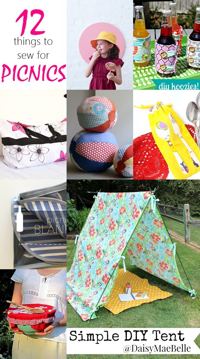 Things to sew for a PERFECT picnic. Make your summer picnics more fun with these awesome things to sew for picnics. Tutorial for picnic blankets, hats, tents, fabric balls. READ NOW!