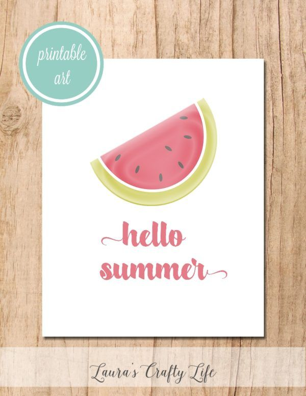 Hello Summer free printable - Laura's Crafty Life