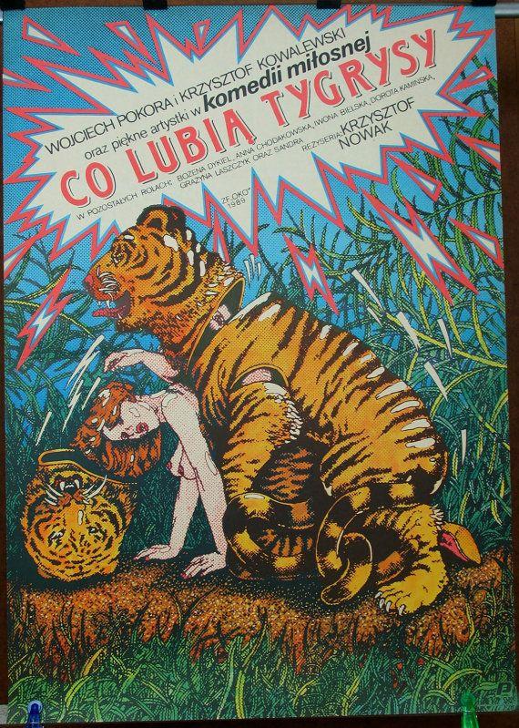 What Do the Tigers Like - Polish 1989 film by Krzysztof Nowak. Set - two original Polish 1989 poster by Janusz Oblucki. Comedy