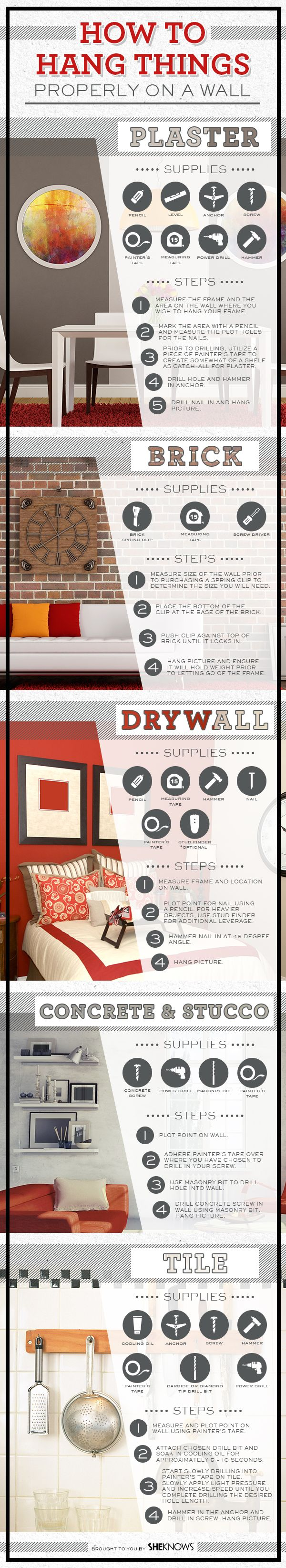 How to hang anything on the wall #alisonrosenow #infographic