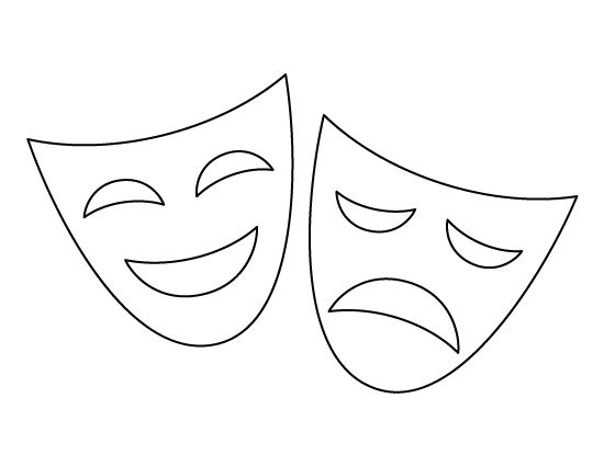 Drama mask pattern. Use the printable outline for crafts, creating stencils, scrapbooking, and more. Free PDF template to download and print at http://patternuniverse.com/download/drama-mask-pattern/
