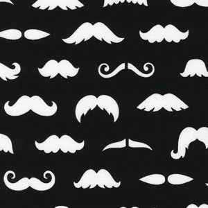 Tkanina Merry Mustaches Black Robert Kaufman