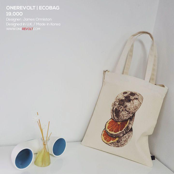 LUNAR ORANGE / Designed by James Ormiston (U.K.) / Made by OneRevolt.com / #에코백 #원리볼트 #디자인 #아티스트 #티셔츠 #오랜지 #캔버스백 #토트백