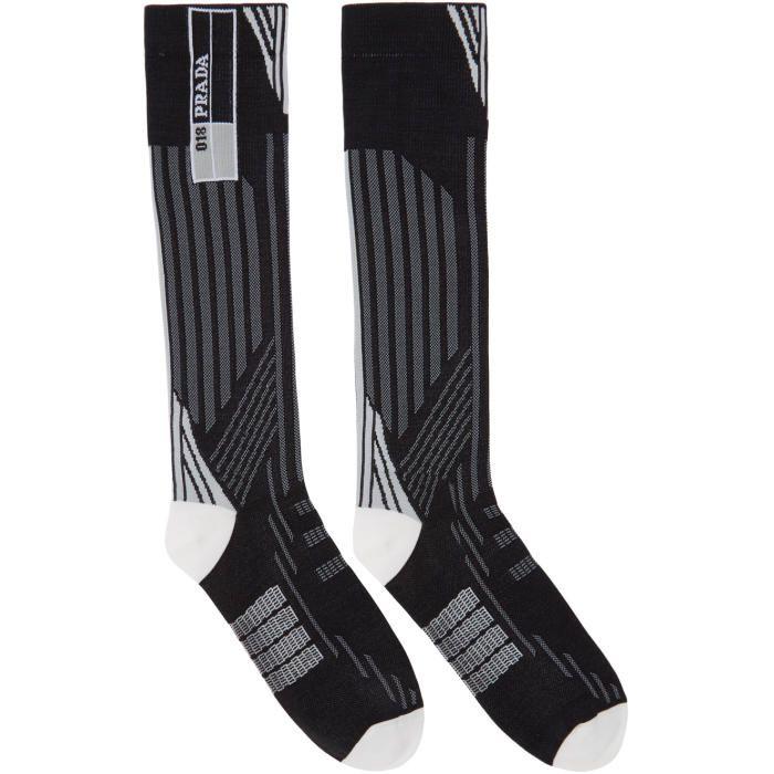 Prada Black And Grey Tech Socks Socks Prada Black