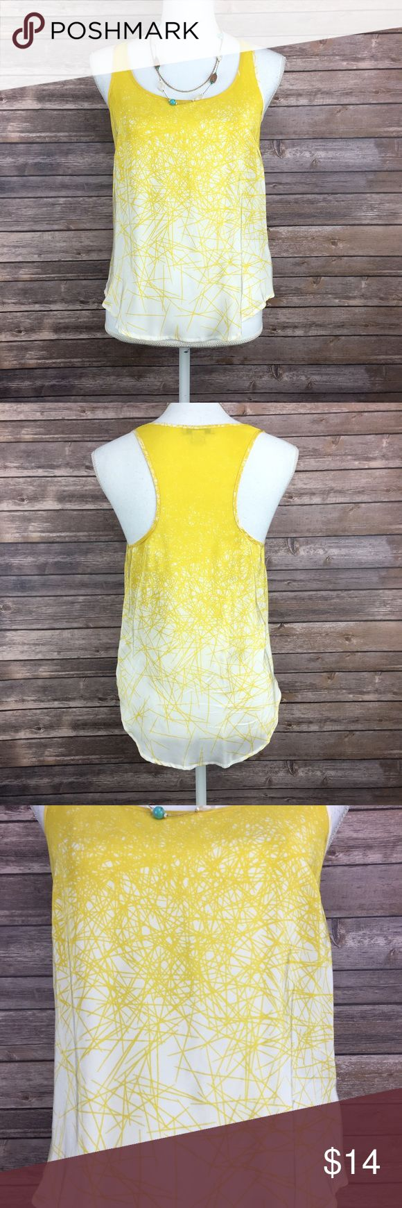 Yellow lines tank Yellow lines tank. Semi sheer Forever 21 size small. 100% silk. (TA2). Forever 21 Tops Tank Tops