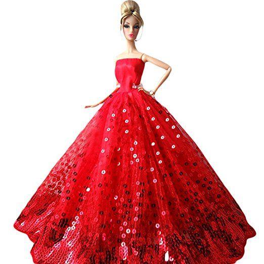 Creation® moda splendida sposa abito del partito di Dresses & Abbigliamento per Barbie Doll Natale Gift- Rosso