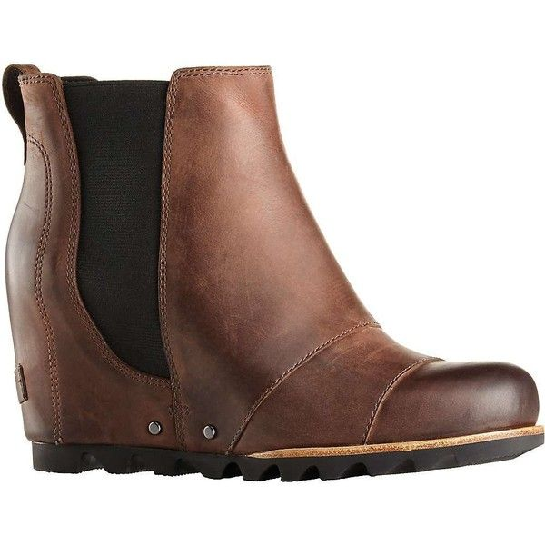 Sorel Women's Lea Wedge Boot ($200) ❤ liked on Polyvore featuring shoes, boots, wedges shoes, water proof boots, sorel footwear, water proof shoes and sorel