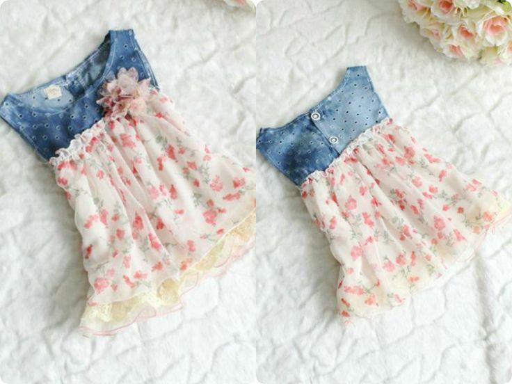 Vestido floral del dril de niña  Precio: $ 40.700  Edad: 4 - 24 meses