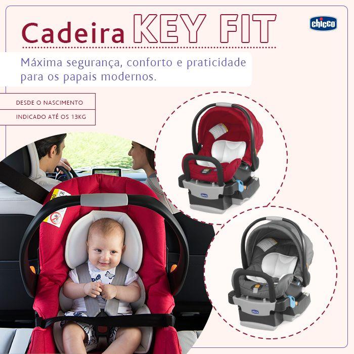 KEY FIT: Máxima segurança, conforto e praticidade para os papais modernos.  Antes de qualquer passeio ou viagem, é essencial para os pais terem produtos que garantam o conforto e segurança dos pequenos. A cadeira Key Fit possui um redutor acolchoado removível, ideal para os primeiros meses, pois garante que o bebê permaneça na posição correta durante toda a viagem. Você pode instalar a Key Fit no carro ou em um de nossos carrinhos (verifique os modelos compatíveis). A cadeirinha Key Fit…