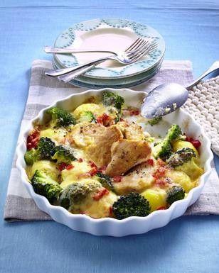 Kartoffel-Brokkoli-Gratin mit Putenmedaillons und Paprika in Käse-Bechamel