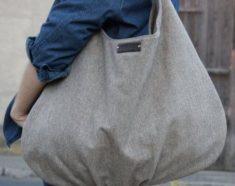 Large hobo canvas with genuine leather grey shoulder bag