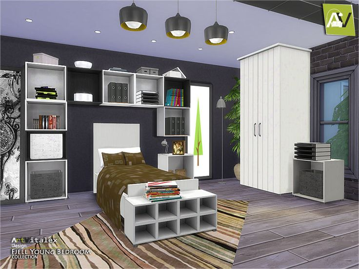 Fjell young bedroom found in tsr category 39 sims 4 kids for Bedroom designs sims 4