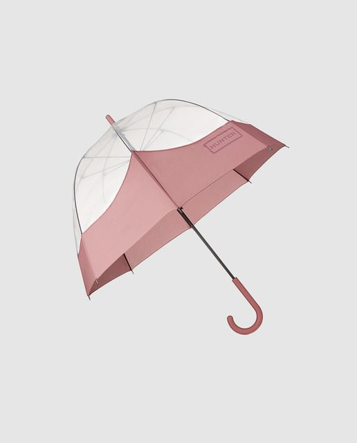 Paraguas transparente y rosa