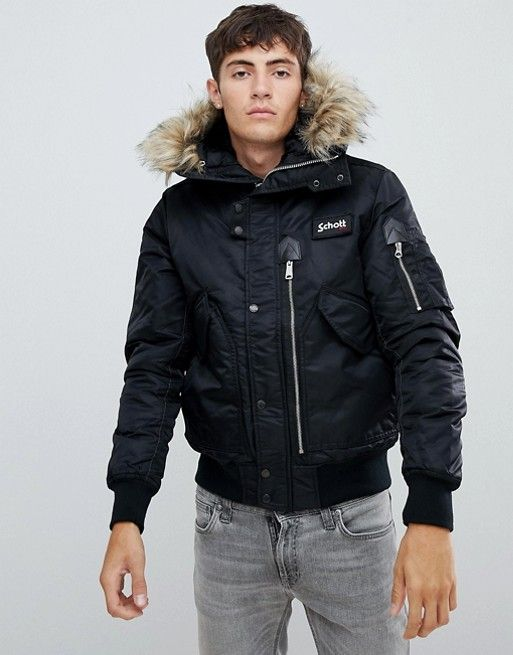 b5f6807fb Schott Tempest 17 hooded flight bomber jacket with detachable faux ...
