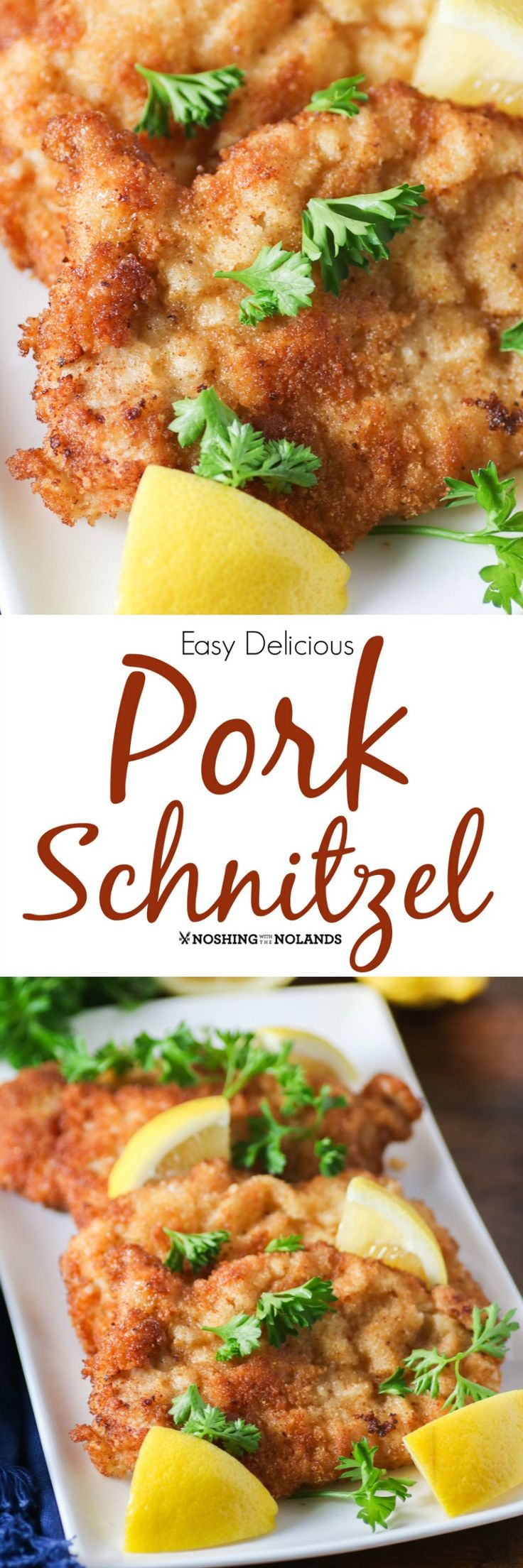 Easy Delicious Pork Schnitzel by Noshing With The Nolands is an inexpensive and quick meal to prepare. Your family will love it!