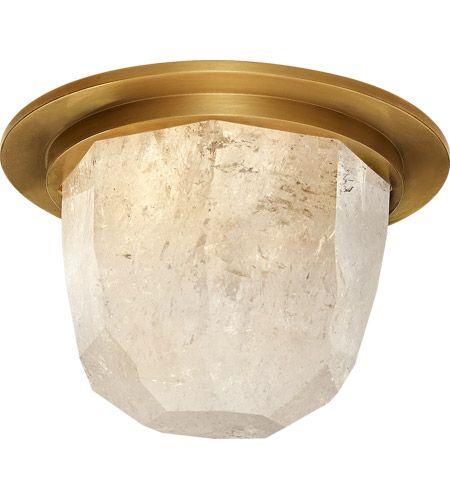 Visual Comfort KW4092AB/Q Kelly Wearstler Halcyon LED 5 inch Antique-Burnished Brass and Quartz Flush Mount Ceiling Light photo