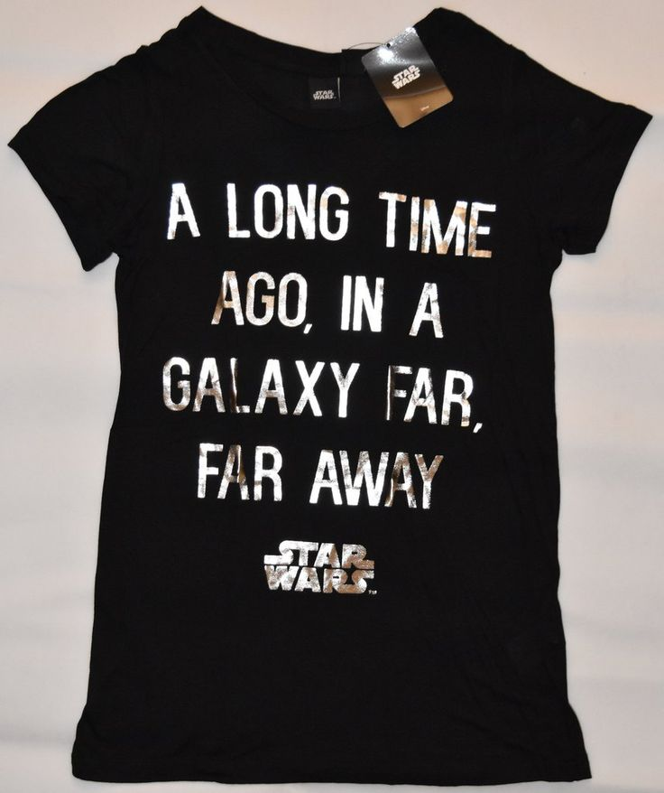 Primark STAR WARS T Shirt Disney Womens Ladies Black & Silver UK Sizes 4-20 NEW