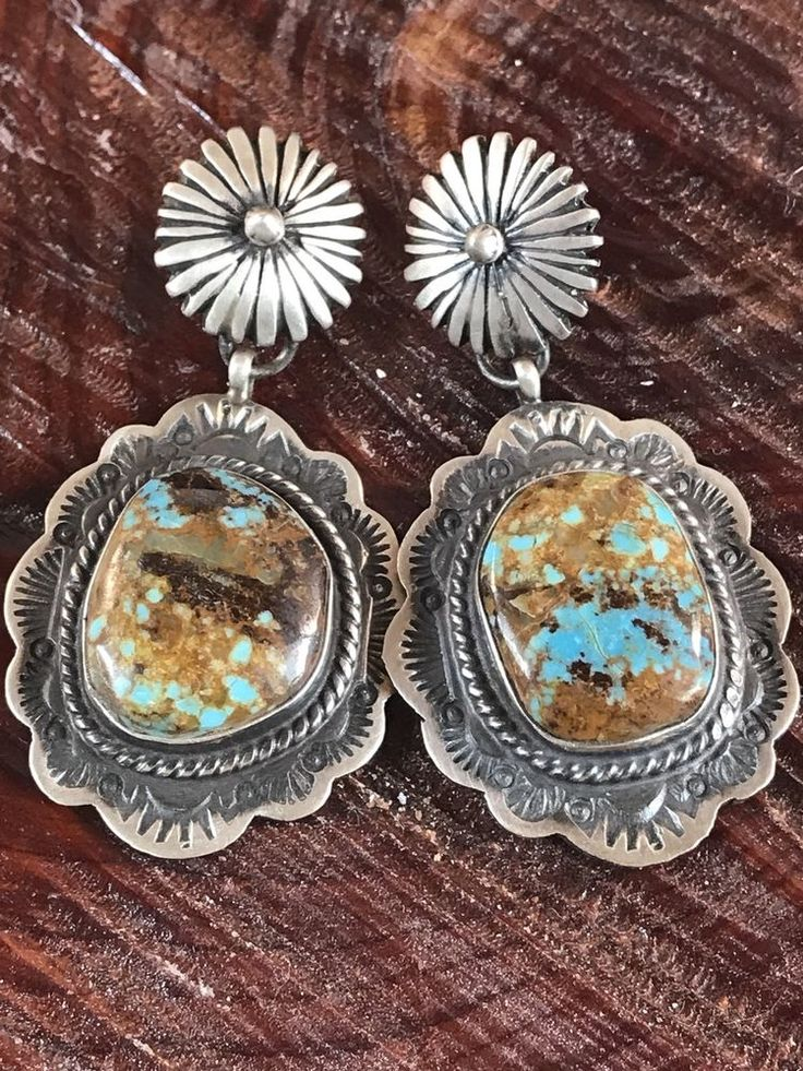 NAVAJO ~#8 ~ TURQUOISE ~ STERLING~EARRINGS ~SIGNED~GERALDINE JAMES  | eBay