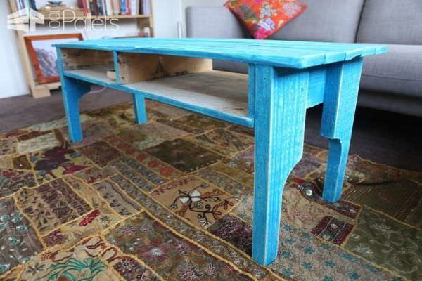 Coffee Table from One Pallet – Painted to Give a Rustic Look Pallet Coffee Tables