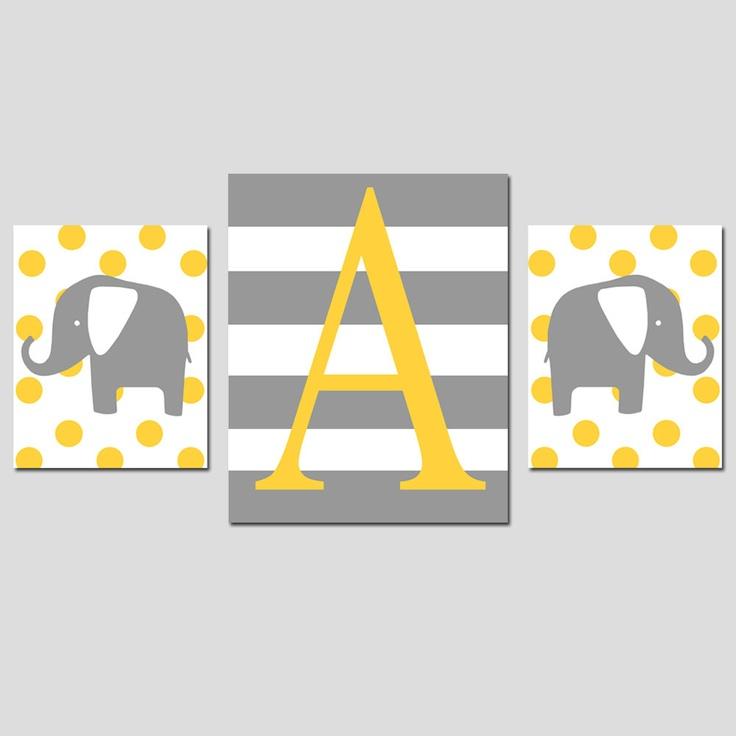 Nursery Art Trio - Set of Three Prints - 8x10 and 11x14 - Monogram Elephants - Chevron, Stripe, Polka Dot - Choose Your Pattern and Colors. $58.50, via Etsy.