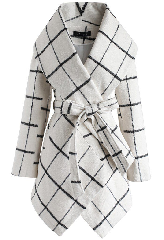 Prairie Grid Rabato Coat in Off-White- New Arrivals - Retro, Indie and Unique Fashion