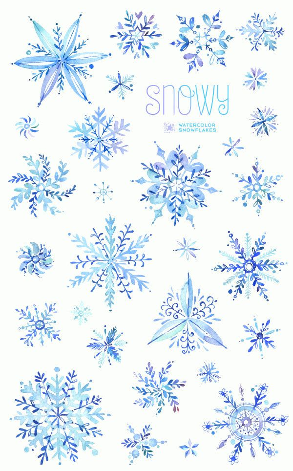 Snowy. Watercolor winter clipart snowflakes christmas