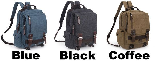 Unique Multi Zippers Square Multifunction Shoulder Bag Canvas College Boy's Backpack