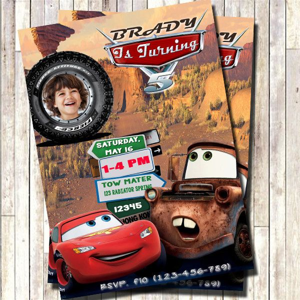 Cars Birthday Invitation, Disney Cars Invitation, Cars Party Invitation, Cars lightning mcqueen Invitation, Do-It-Yourself Digital File. by 3lileagles on Etsy