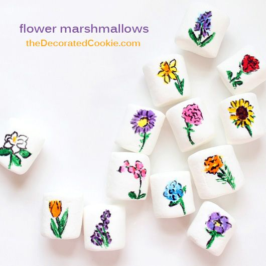25 flowers drawn on marshmallows, for Earth Day, Spring, Mother's Day...