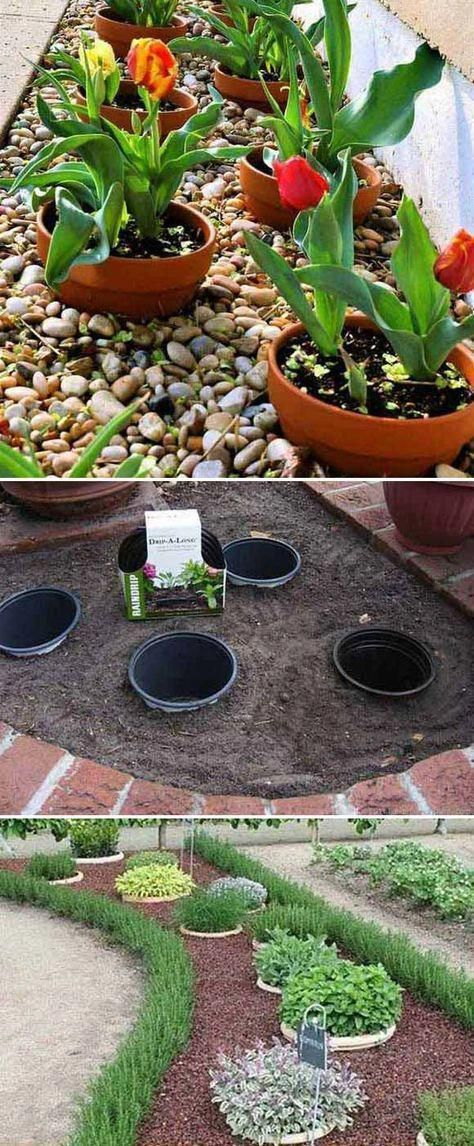 Place potted plants inside these buried pots for easy landscaping. #backyardland…Martina