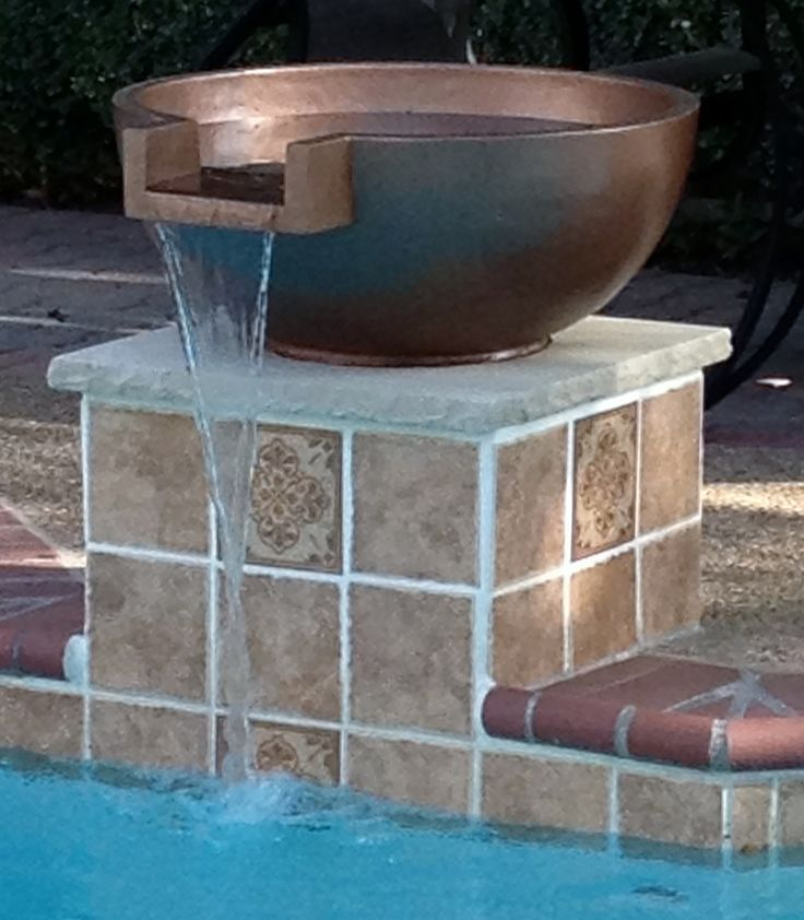 Our New Pool Water Feature Copper Bowl Fountain On A