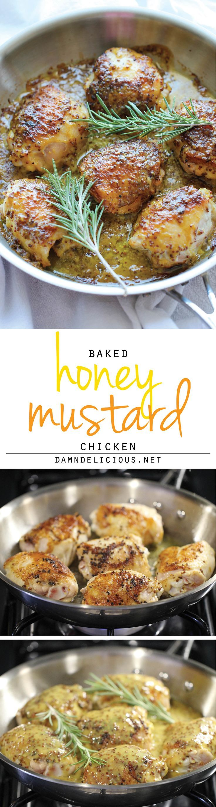 PALEO Baked Honey Mustard Chicken - The creamiest honey mustard chicken ever! It's so good, you'll want to eat the mustard itself with a spoon!