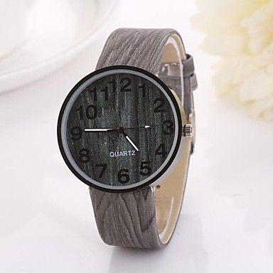 vrouwen Arabische cijfers digitale ronde tafel pure kleur teak riem horloge c&d-349 2015 – €5.87