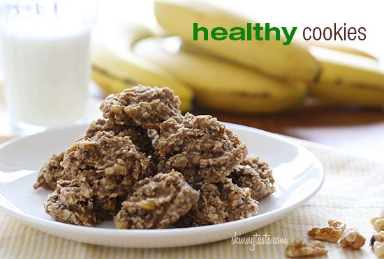 Healthy Cookies | Skinnytaste (Only 3 ingredients! Bananas, oats, and walnuts). Same