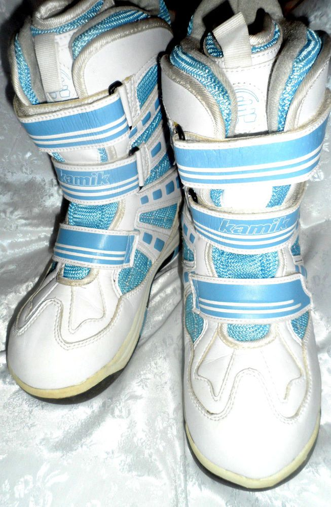 SIZE 5 UNISEX WATERPROOF FRONT STRAP VELCRO BLUE AND WHITE BOOTS #Kamik #SnowWinter